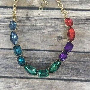 Rainbow Rhinestone Necklace Chain